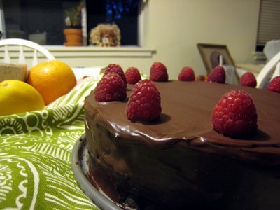 Chocolate Cake with Raspberry Ganache Filling